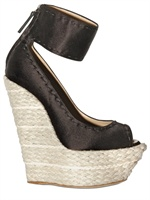 Giuseppe Zanotti 140MM SILK SATIN WOVEN ROPE WEDGES