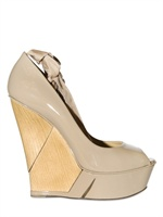 Lanvin 105MM PATENT WOODEN WEDGES