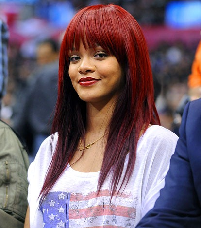 Hair With No Fringe. rihanna long red hair fringe.