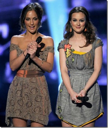 Minka Kelly in Vivienne Westwood dress & Leighton Meester in Vionnet.